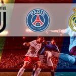 I loghi di Juventus, Paris Saint-Germain e Real Madrid e dei calciatori in azione