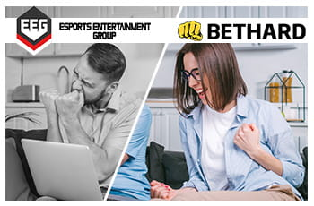 Il logo di Bethard e il logo di Esports Entertainment Group, un ragazzo e una ragazza che esultano davanti ad un computer