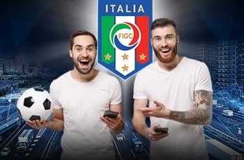 Il logo della FIGC e due ragazzi con un pallone
