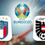 Il logo della nazionale italiana, il logo di Euro 2020, il logo della nazionale austriaca