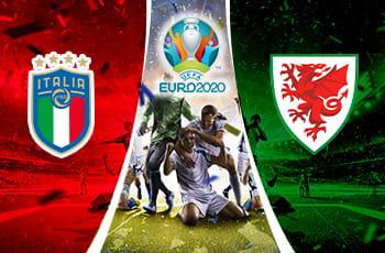 I loghi delle nazionali di calcio italiana e del Galles e degli Europei 2020 e dei calciatori che esultano