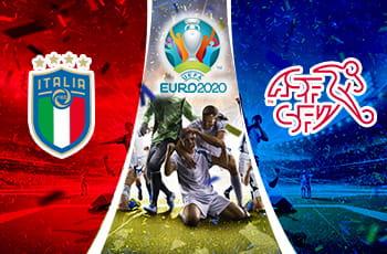 Il logo della nazionale di calcio italiana, il logo di Euro 2020, il logo della nazionale di calcio svizzera, dei calciatori che esultano