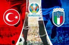 Lo stemma della nazionale turca, il logo di Euro 2020, lo stemma della nazionale italiana