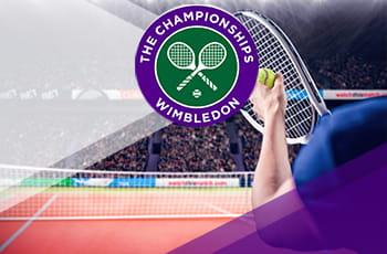 Il logo di Wimbledon 2021 e un tennista in azione