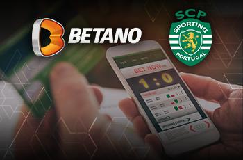 Il logo del bookmaker Betano e il logo dello Sporting Lisbona