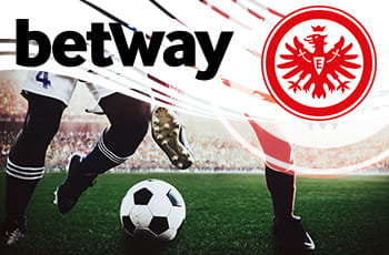 I loghi di Betway e dell'Eintracht Francoforte e dei calciatori in azione