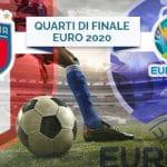 Il logo della nazionale italiana, il logo di Euro 2020, quarti di finale