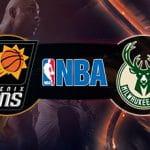 Il logo di Phoenix Suns, il logo della NBA, il logo di Milwaukee Bucks