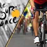 Il logo del Tour de France 2021 e un ciclista generico in azione