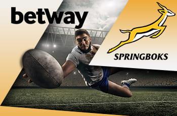 Rugbista in azione con logo Betway e logo Springbooks.