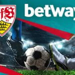 I loghi di Betway e dello Stoccarda e due calciatori a contrasto