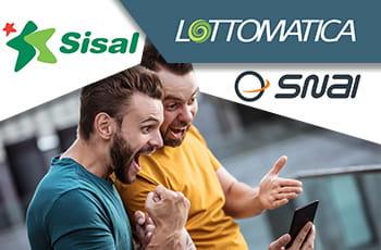 Due ragazzi che esultano con logo Lottomatica, logo Sisal e logo SNAI.