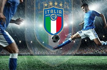 Il logo della Federazione Italiana Giuoco Calcio e un calciatore in azione