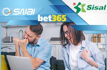 I loghi di SNAI, bet365 e Sisal e un ragazzo e una ragazza davanti a un laptop