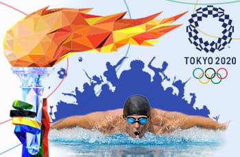 Il logo delle Olimpiadi di Tokyo, la fiamma olimpica, un nuotatore e le sagome di altri atleti in azione
