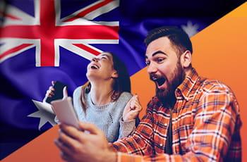 Ragazzi che scommettono online con bandiera australiana.