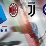Giocatore in azione con il logo della Seria A, più logo Milan, logo Juventus, logo Inter.