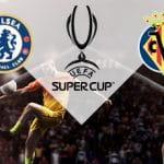 I loghi del Chelsea, del Villareal e della Supercoppa UEFA