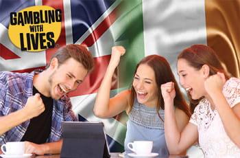 Ragazzi che scommettono, logo di Gambling with Lives, bandiera Uk e bandiera irlandese.
