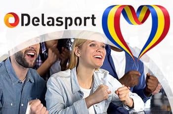 Tifosi con logo Delasport e bandiera rumena.