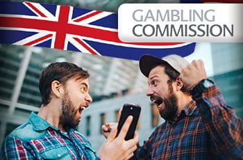 Ragazzi che esultano, bandiera inglese e logo Gambling Commission.