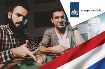 Ragazzi che giocano al casinò, logo KSA e bandiera olandese.