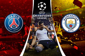 Giocatori che esultano, logo PSG, logo Manchester City, logo Champions League.