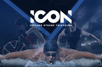Le tre specialità del triathlon bici, nuoto e corsa e il logo di Icon Livigno.