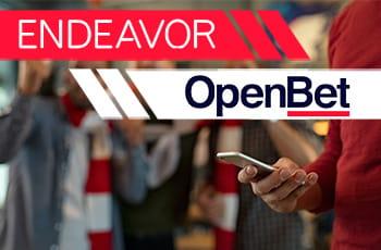 Persona che scommette da mobile, logo di Openbet e logo di Endeavor.