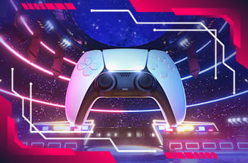 Sfondo videogioco con joystick in primo piano.