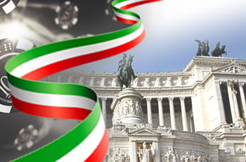 Parlamento italiano con bandiera italiana e fiches casinò.