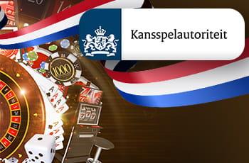Giochi da casinò, con logo Kansspelautoriteit e bandiera olandese.
